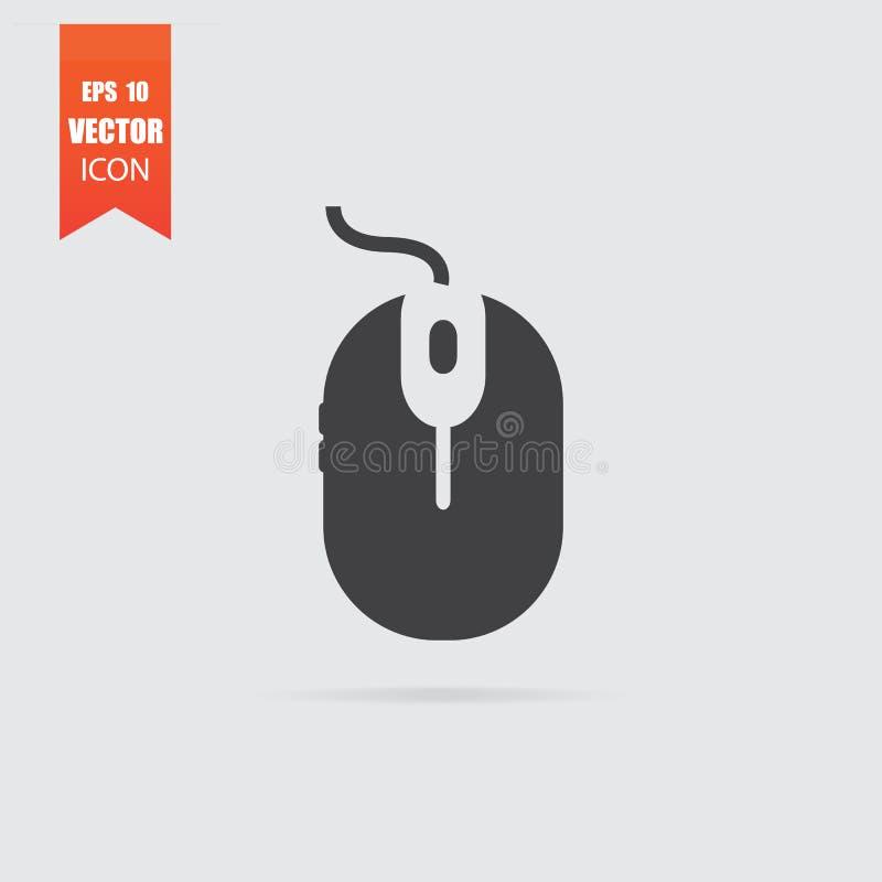 Ícone do rato do computador no estilo liso isolado no fundo cinzento ilustração do vetor