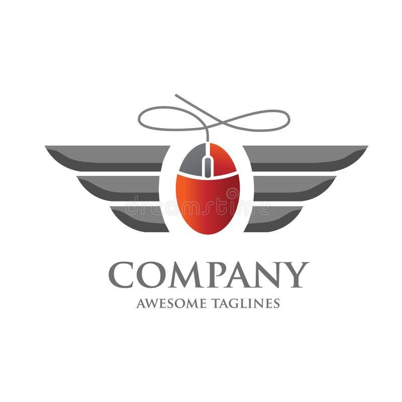 Ícone do rato do computador com conceito do logotipo da asa ilustração royalty free