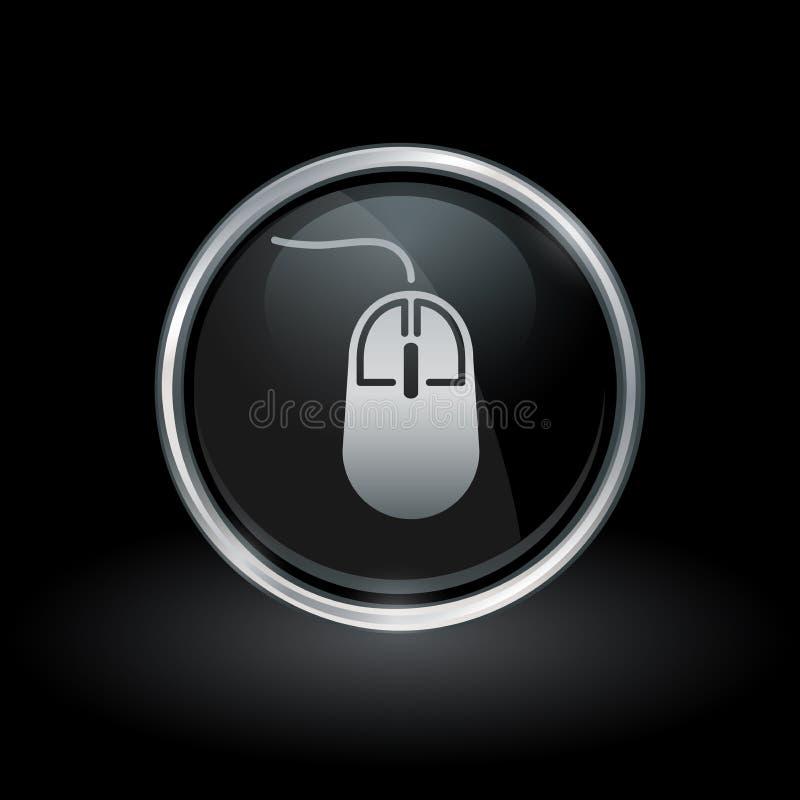 Ícone do rato do computador dentro da prata redonda e do emblema preto ilustração stock