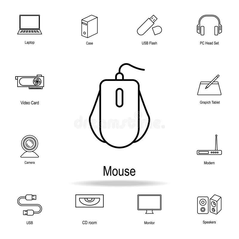 Ícone do rato do PC Grupo detalhado de ícones da peça do computador Projeto gráfico superior Um dos ícones da coleção para Web si ilustração do vetor