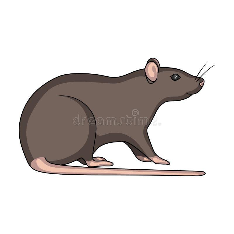 Ícone do rato do roedor único no estilo dos desenhos animados para o projeto Web da ilustração do estoque do símbolo do vetor do  ilustração do vetor