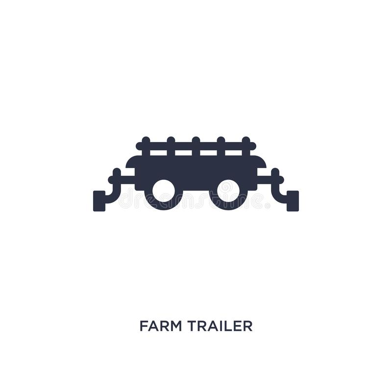 ícone do reboque da exploração agrícola no fundo branco Ilustração simples do elemento do conceito de cultivo e de jardinagem da  ilustração do vetor