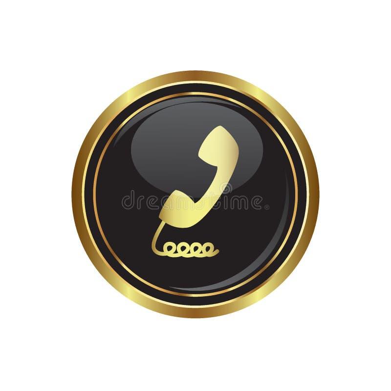 Ícone do receptor de telefone no botão ilustração royalty free