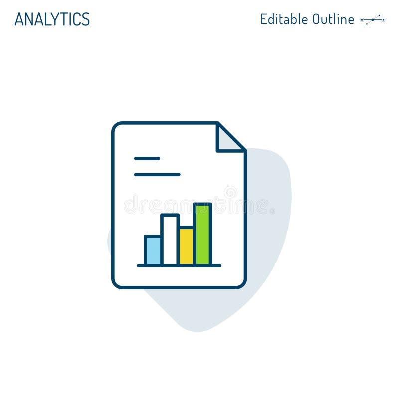 Ícone do relatório, analítica ícone, estática da investigação empresarial, estudos de mercado, ícone de documento, servi ilustração stock