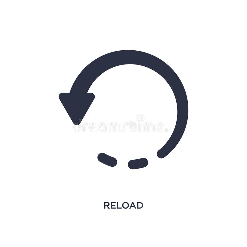 Ícone do Reload no fundo branco Ilustração simples do elemento do conceito da interface de usuário ilustração royalty free