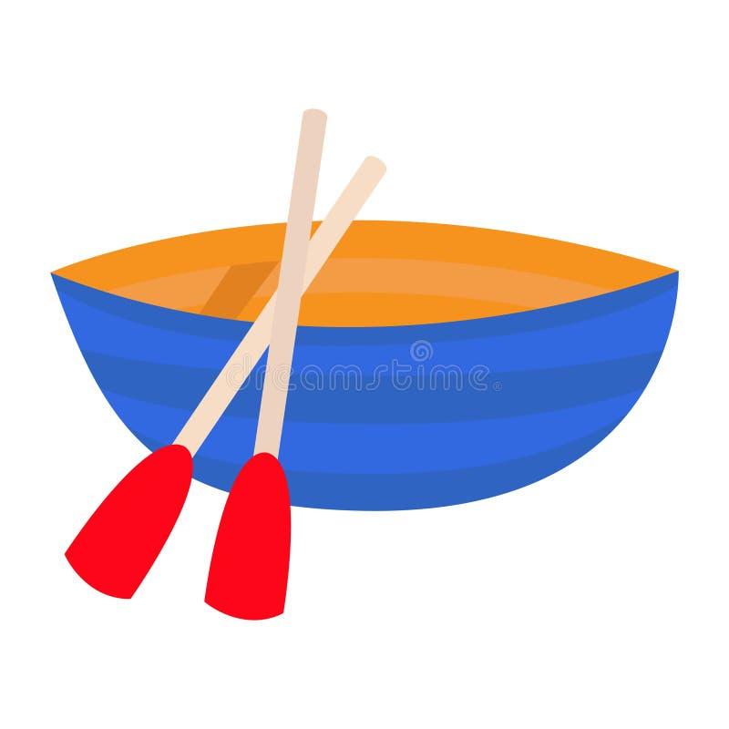 Ícone do remo da pá do barco Esquife azul da embarcação Barcos de Fisshing Navio de madeira Clipart do oceano do mar Projeto liso ilustração stock