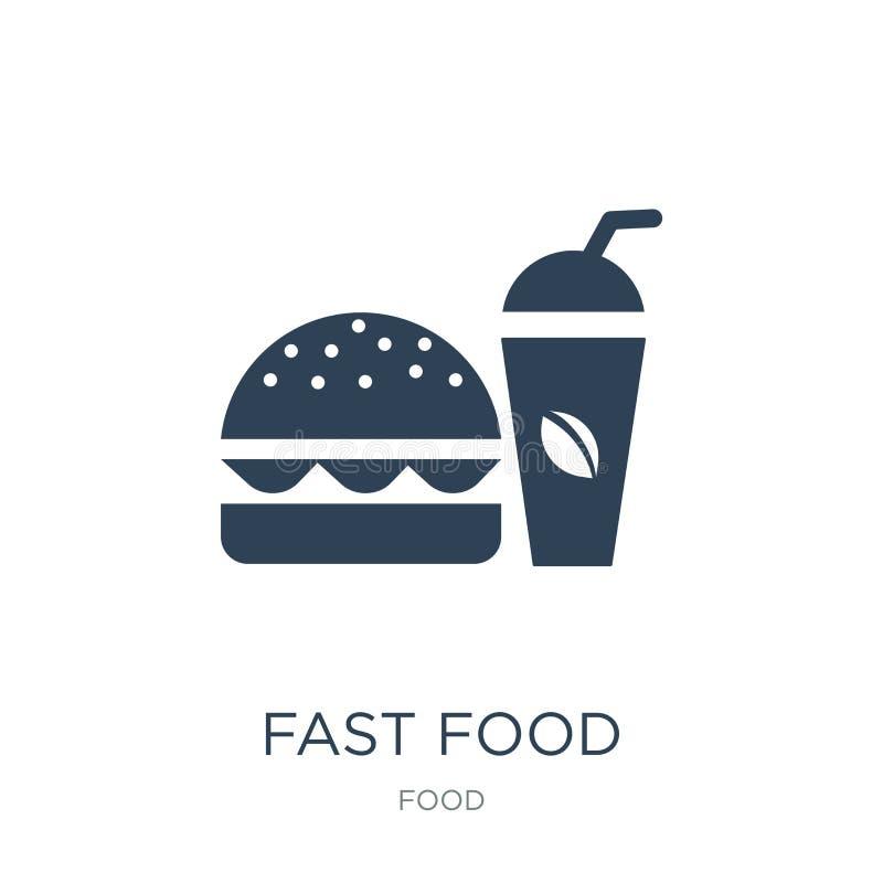 ícone do restaurante do fast food no estilo na moda do projeto ícone do restaurante do fast food isolado no fundo branco Restaura ilustração royalty free