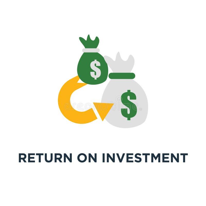 Ícone do retorno sobre o investimento consolidação da finança, projeto de refinanciamento do símbolo do conceito, planeamento do  ilustração do vetor
