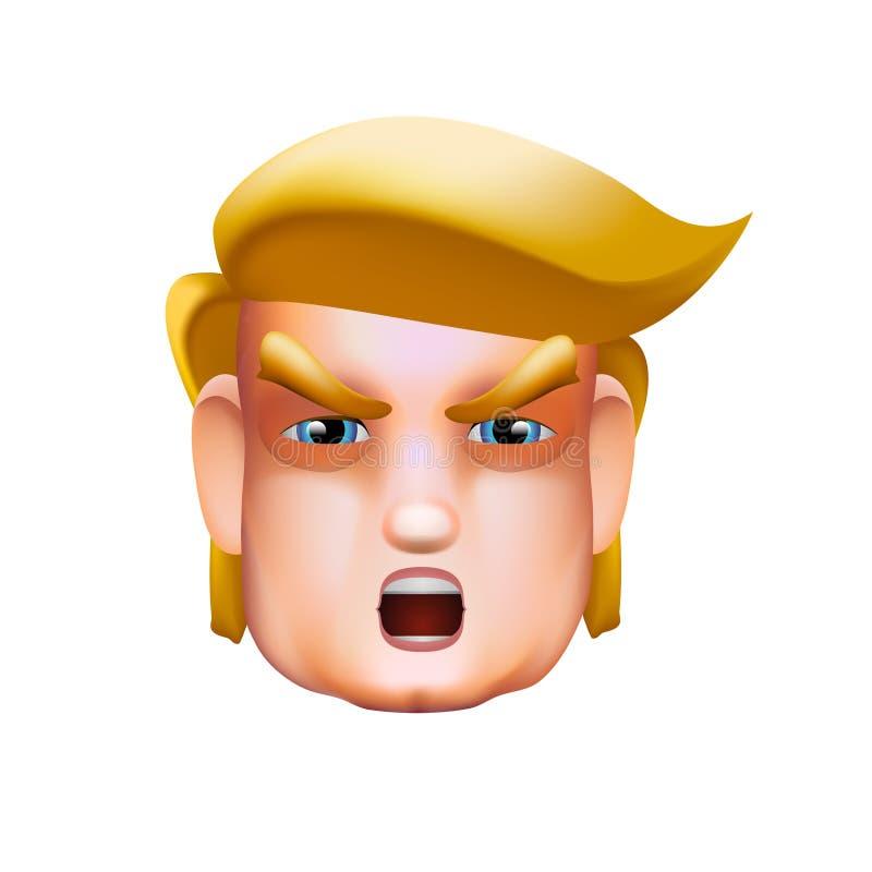 Ícone do retrato do caráter de Donald Trump que dá um discurso, ilustração do vetor ilustração royalty free