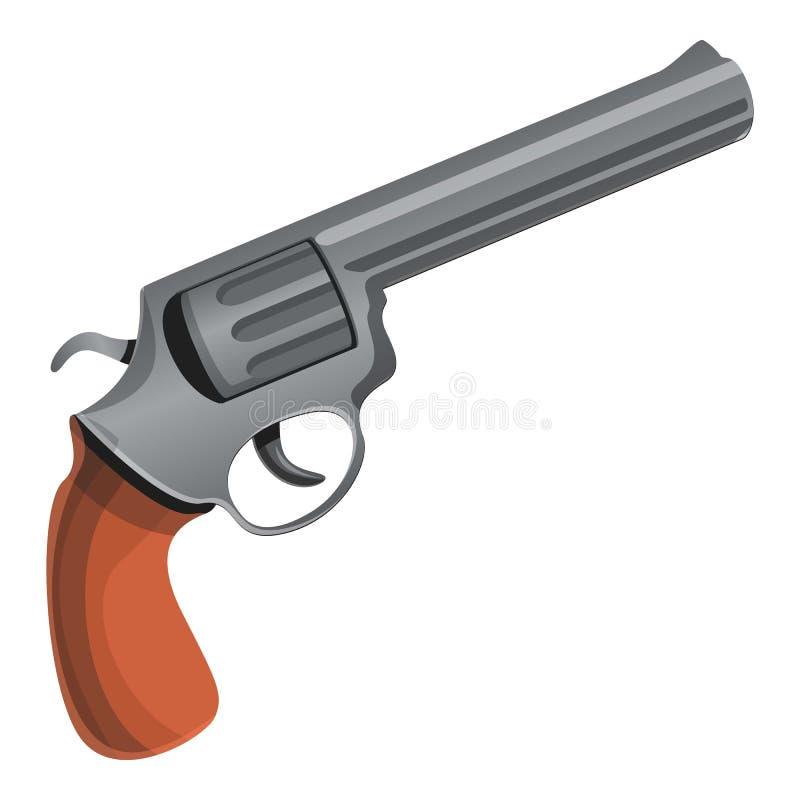 Ícone do revólver do vaqueiro, estilo dos desenhos animados ilustração stock
