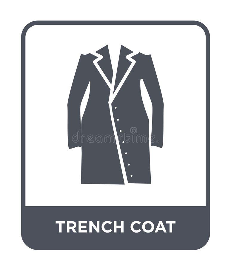 ícone do revestimento de trincheira no estilo na moda do projeto ícone do revestimento de trincheira isolado no fundo branco ícon ilustração royalty free