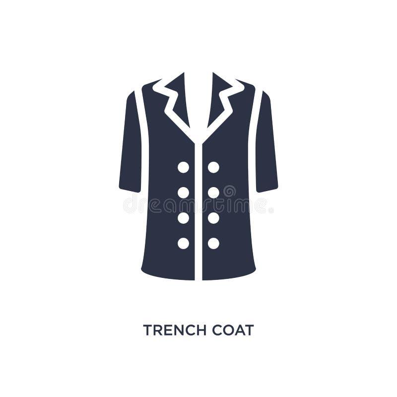 ícone do revestimento de trincheira no fundo branco Ilustração simples do elemento do conceito da roupa ilustração stock