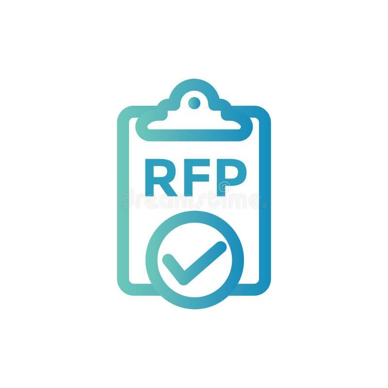Ícone do RFP - conceito ou ideia do pedido de propostas ilustração stock