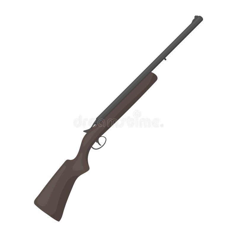 Ícone do rifle da caça no estilo dos desenhos animados no fundo branco Ilustração do vetor do estoque do símbolo da caça ilustração do vetor