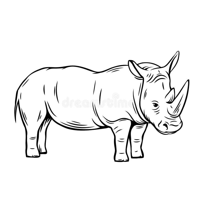 Ícone do rinoceronte do esboço ilustração royalty free