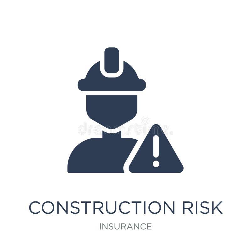ícone do risco da construção Ico liso na moda do risco da construção do vetor ilustração royalty free