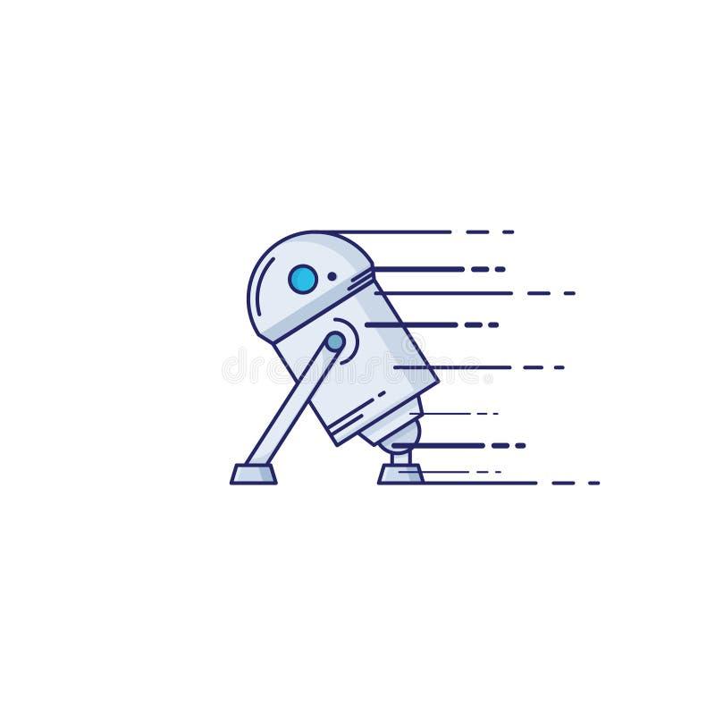 Ícone do robô do brinquedo no estilo fino do esboço Graphhics do vetor ilustração royalty free