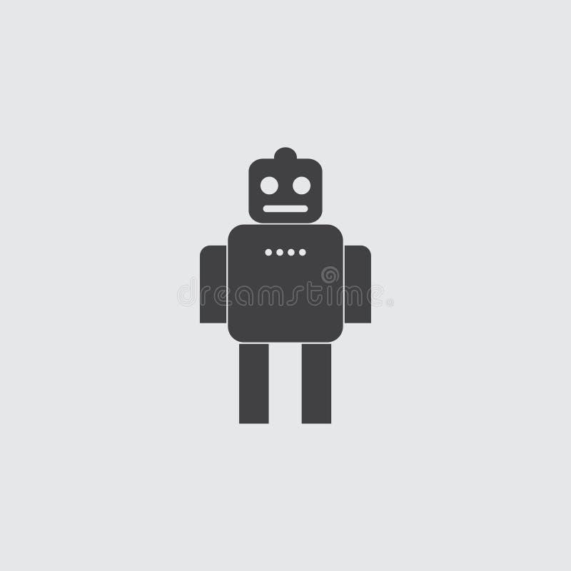 Ícone do robô em um projeto liso na cor preta Ilustração EPS10 do vetor ilustração royalty free
