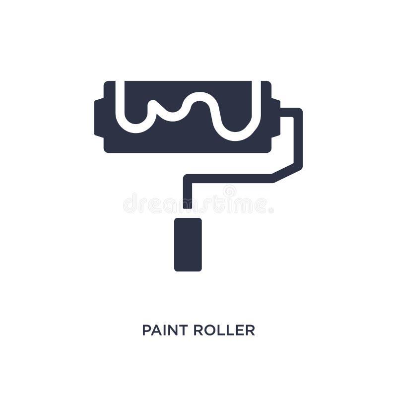 Ícone do rolo de pintura no fundo branco Ilustração simples do elemento do conceito das ferramentas da construção ilustração do vetor