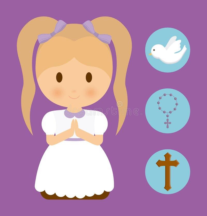 Ícone do rosário da cruz da pomba dos desenhos animados da criança da menina Gráfico de vetor ilustração royalty free