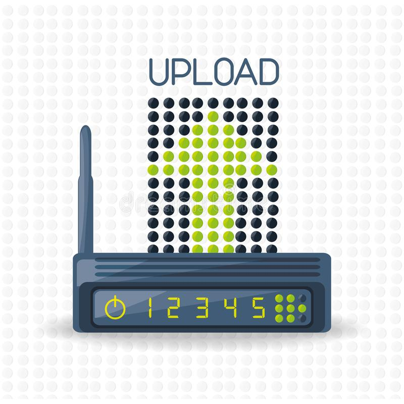Ícone do roteador de Wifi relativo com Internet da transferência de arquivo pela rede ilustração do vetor