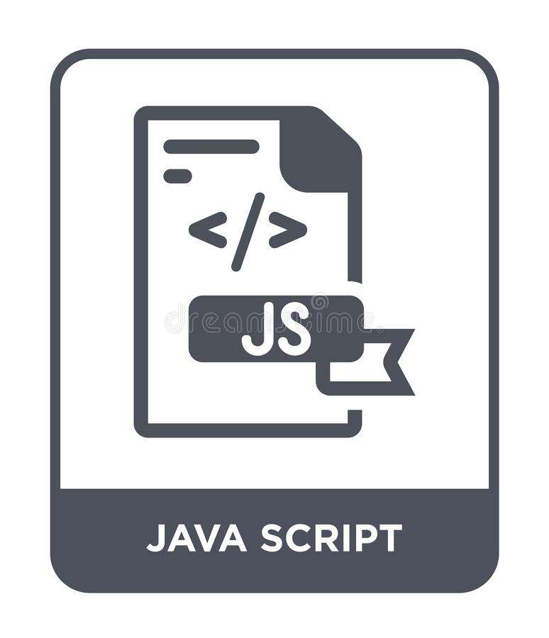 ícone do roteiro de java no estilo na moda do projeto ícone do roteiro de java isolado no fundo branco ícone do vetor do roteiro  ilustração stock