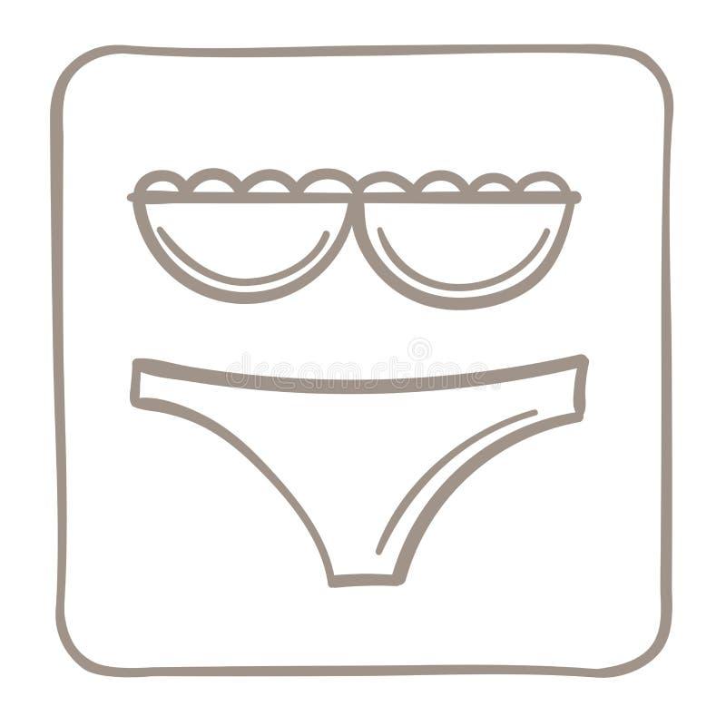 Ícone do roupa de banho em um claro - quadro marrom Gráficos de vetor ilustração do vetor