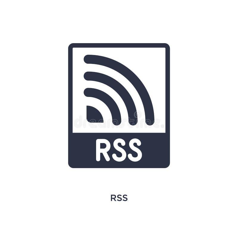 Ícone do RSS no fundo branco Ilustração simples do elemento do conceito de mercado ilustração do vetor