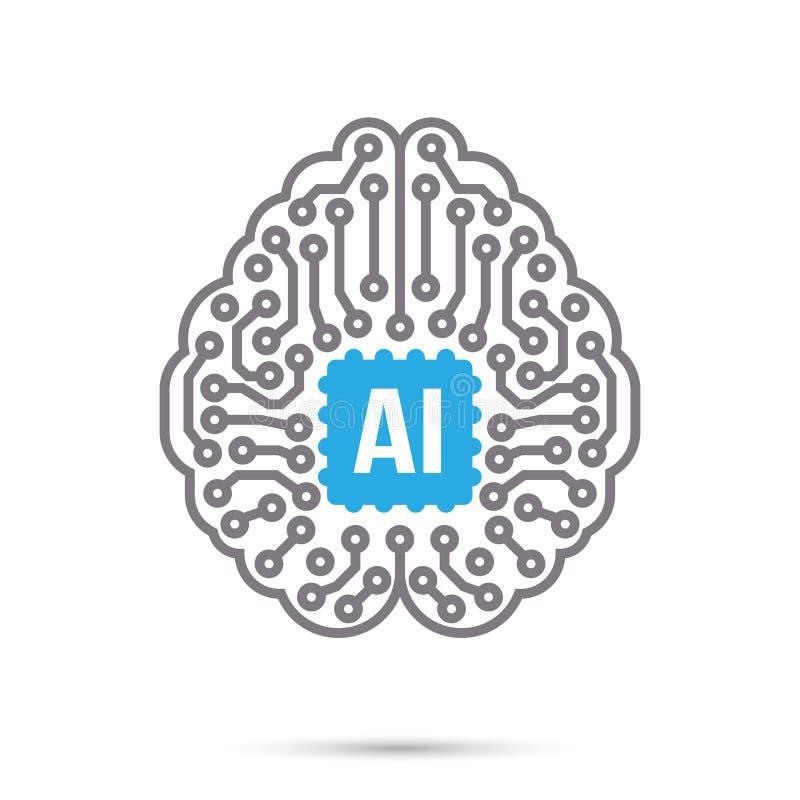 Ícone do símbolo do cérebro do circuito da tecnologia de inteligência artificial do AI ilustração royalty free