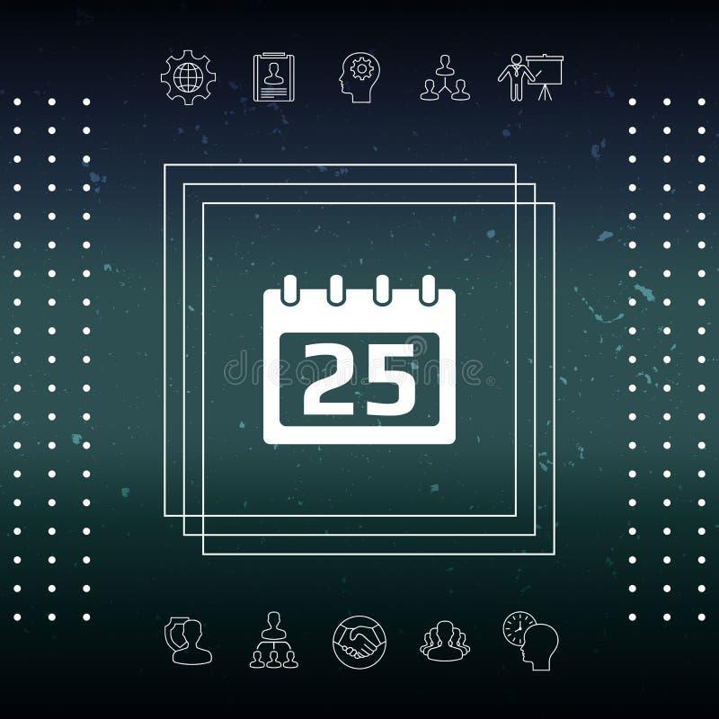 Ícone do símbolo do calendário ilustração stock
