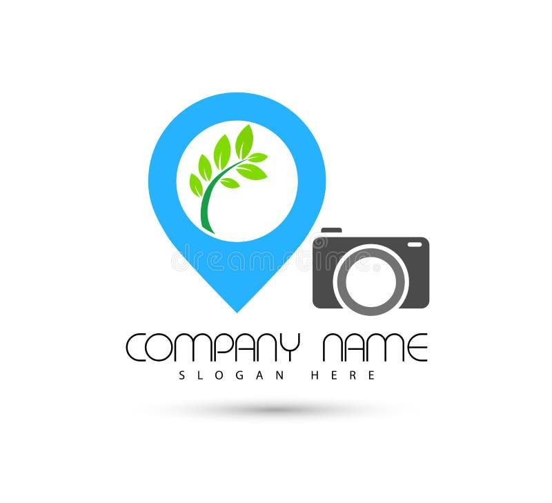 Ícone do símbolo do conceito de projeto do logotipo do vetor de onda do mar da câmera do ícone do lugar do turismo do hotel no fu ilustração royalty free