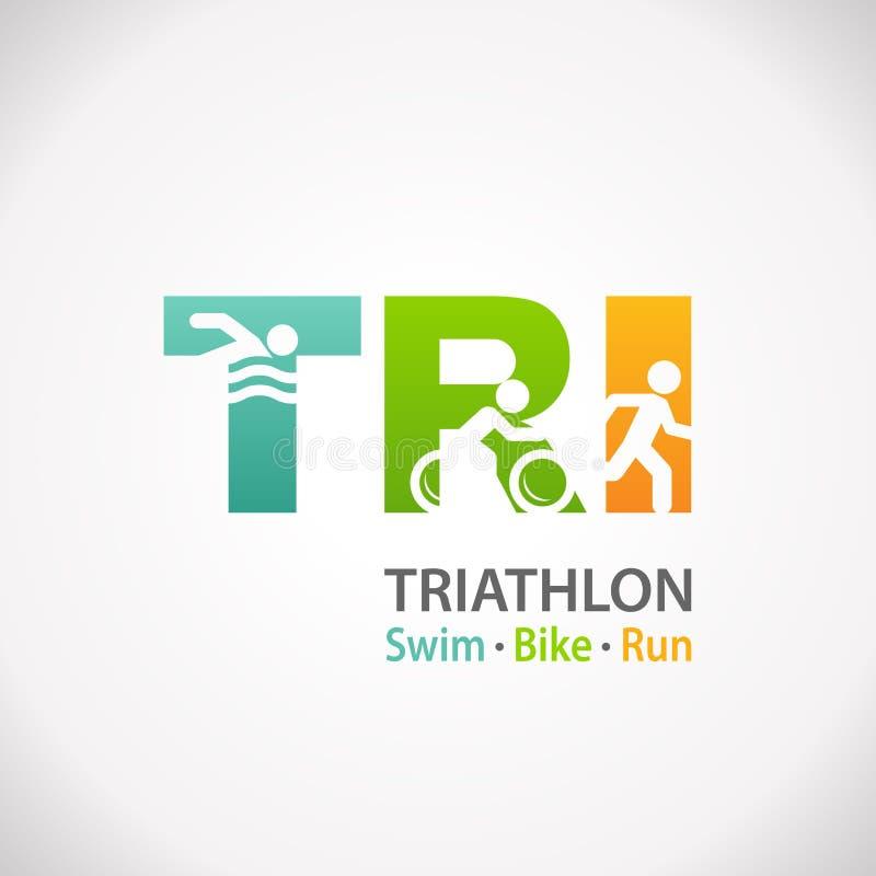 Ícone do símbolo da aptidão do Triathlon ilustração do vetor