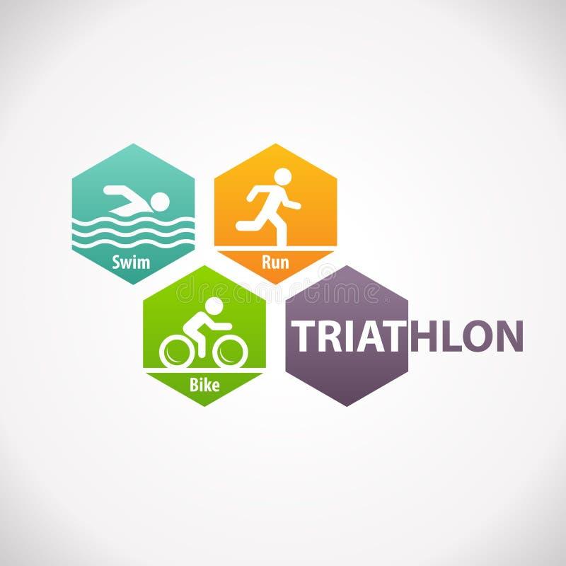 Ícone do símbolo da aptidão do Triathlon ilustração royalty free