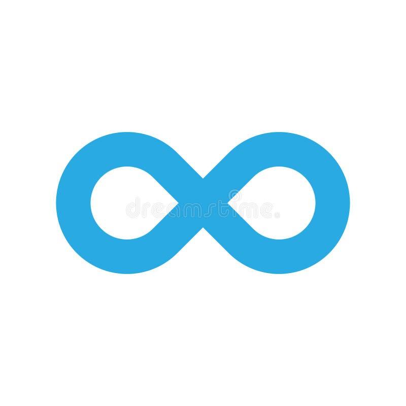 Ícone do símbolo da infinidade Representando o conceito de coisas infinitas, ilimitadas e infinitas Projeto azul simples do vetor ilustração royalty free