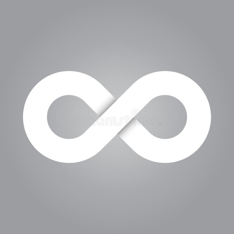Ícone do símbolo da infinidade Representando o conceito de coisas infinitas, ilimitadas e infinitas Projeto branco simples do vet ilustração stock