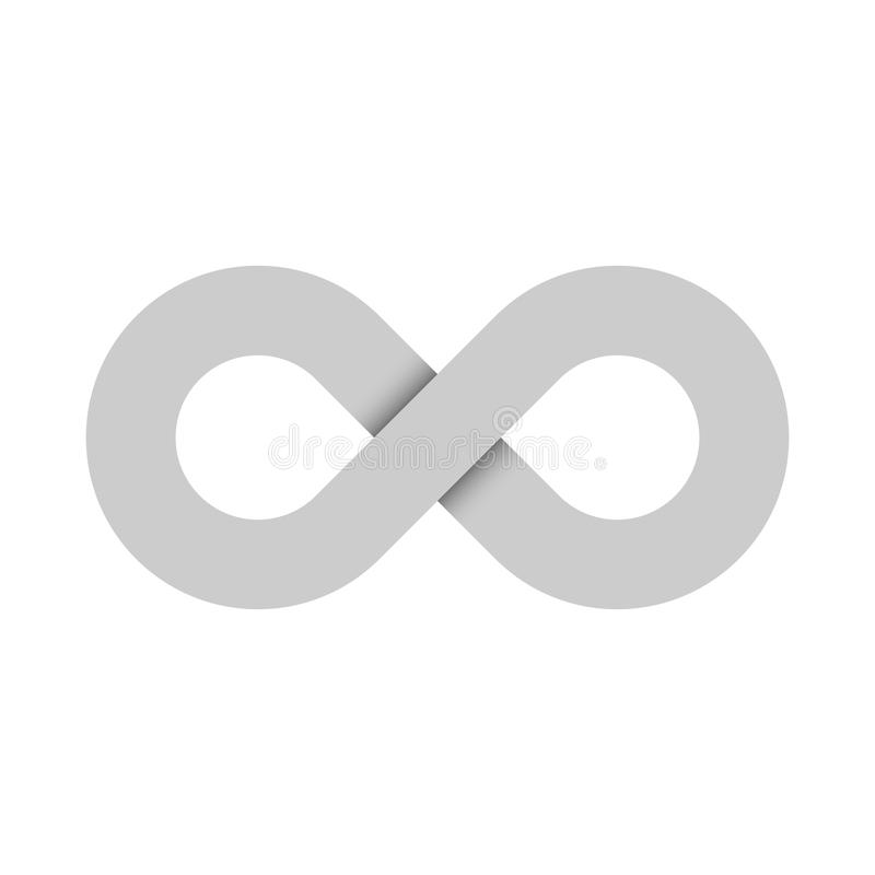Ícone do símbolo da infinidade Representando o conceito de coisas infinitas, ilimitadas e infinitas Projeto cinzento simples do v ilustração stock