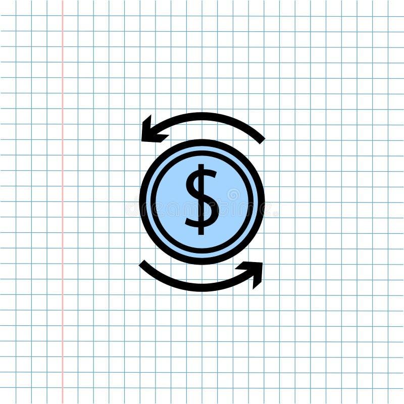 ?cone do s?mbolo da troca de dinheiro no fundo de papel da nota, ?cone dos meios para uma comunica??o da tecnologia e conceito do ilustração royalty free
