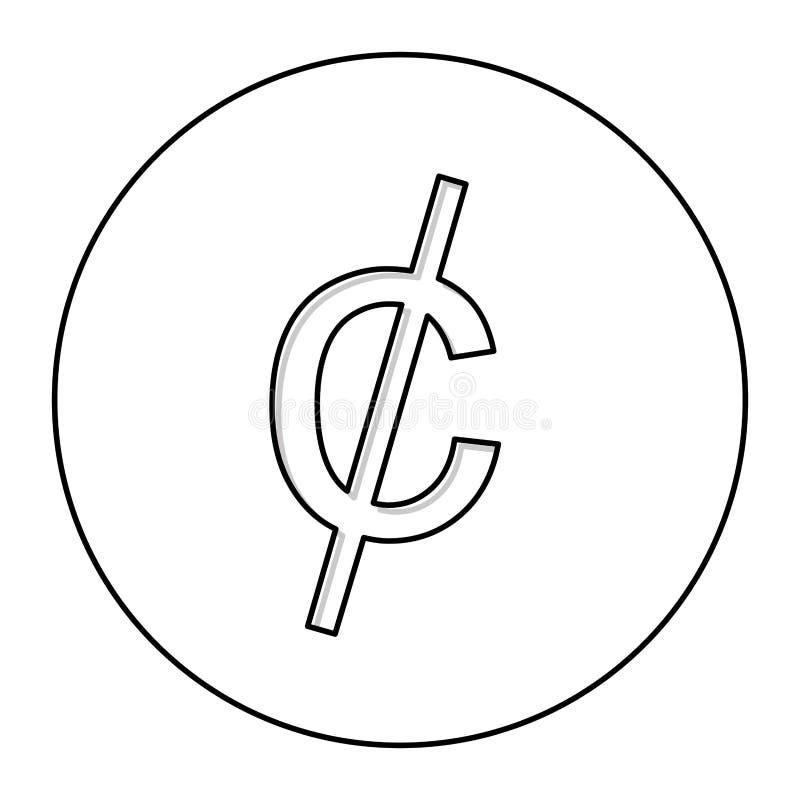 ícone do símbolo de moeda da moeda de um centavo do centavo ilustração stock