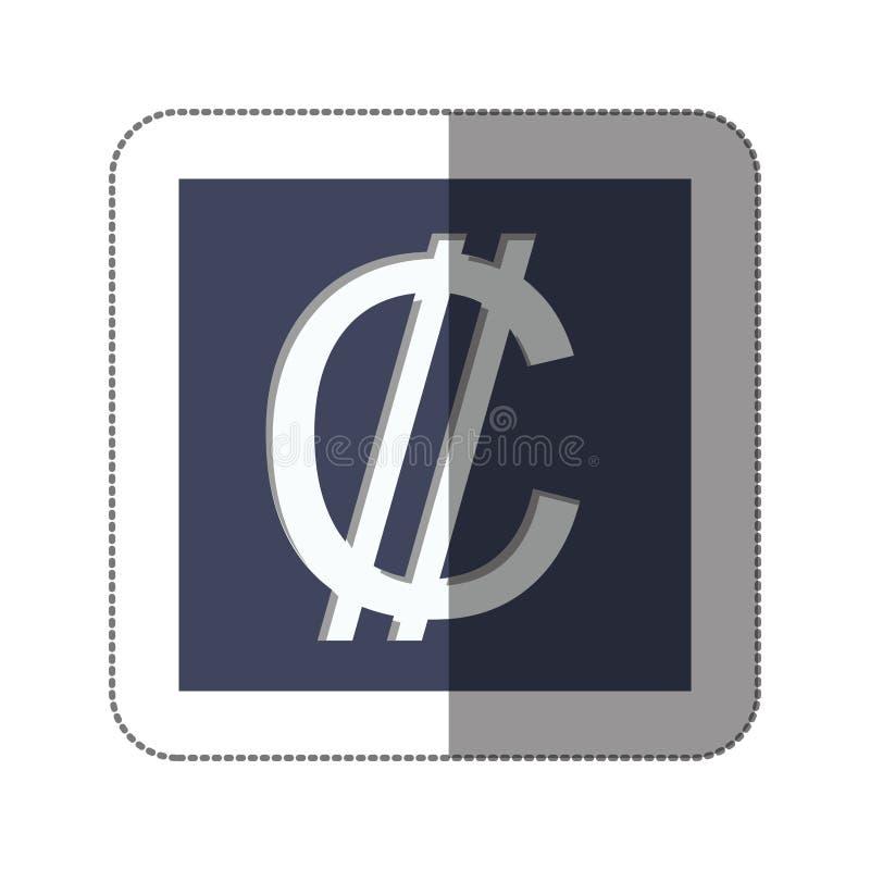 Ícone do símbolo de moeda dos dois pontos ilustração do vetor