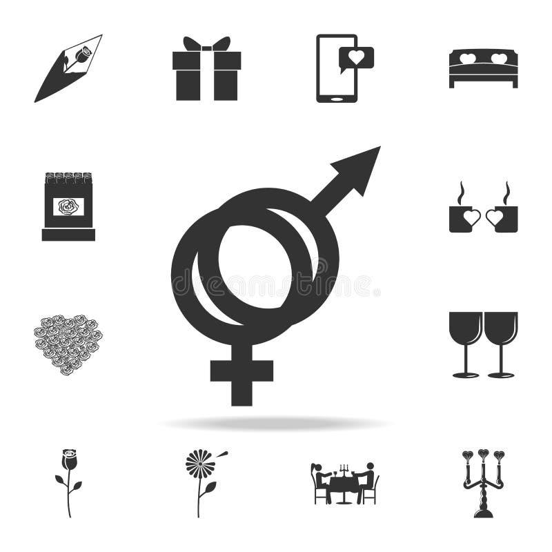 Ícone do símbolo de sexo masculino e fêmea Grupo detalhado de sinais e elementos de ícones do amor Projeto gráfico da qualidade s ilustração royalty free