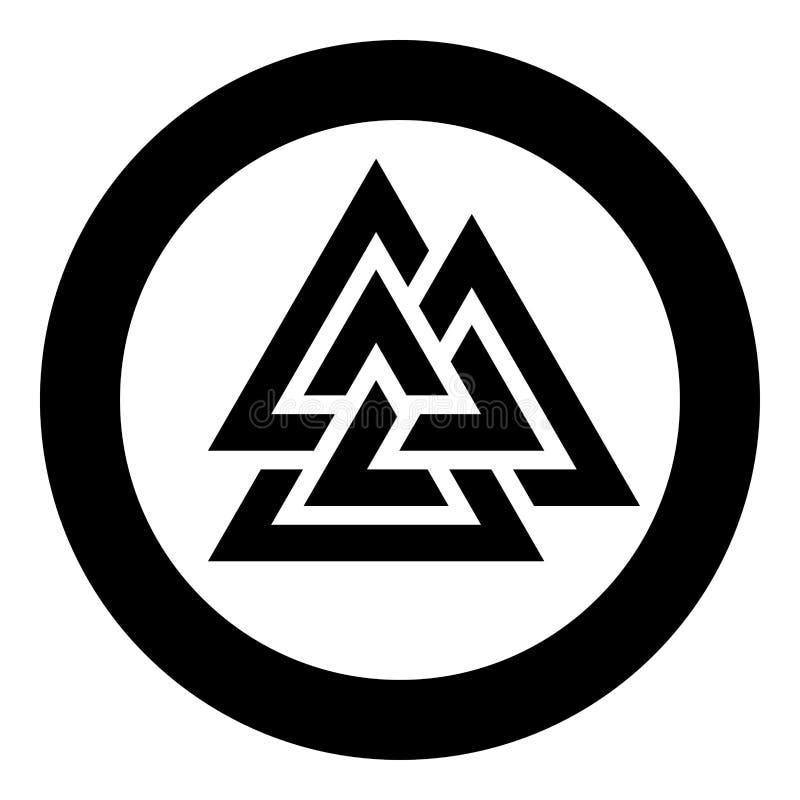 Ícone do símbolo de Valknut da ilustração preta redonda do vetor da cor do círculo na imagem lisa do estilo ilustração do vetor