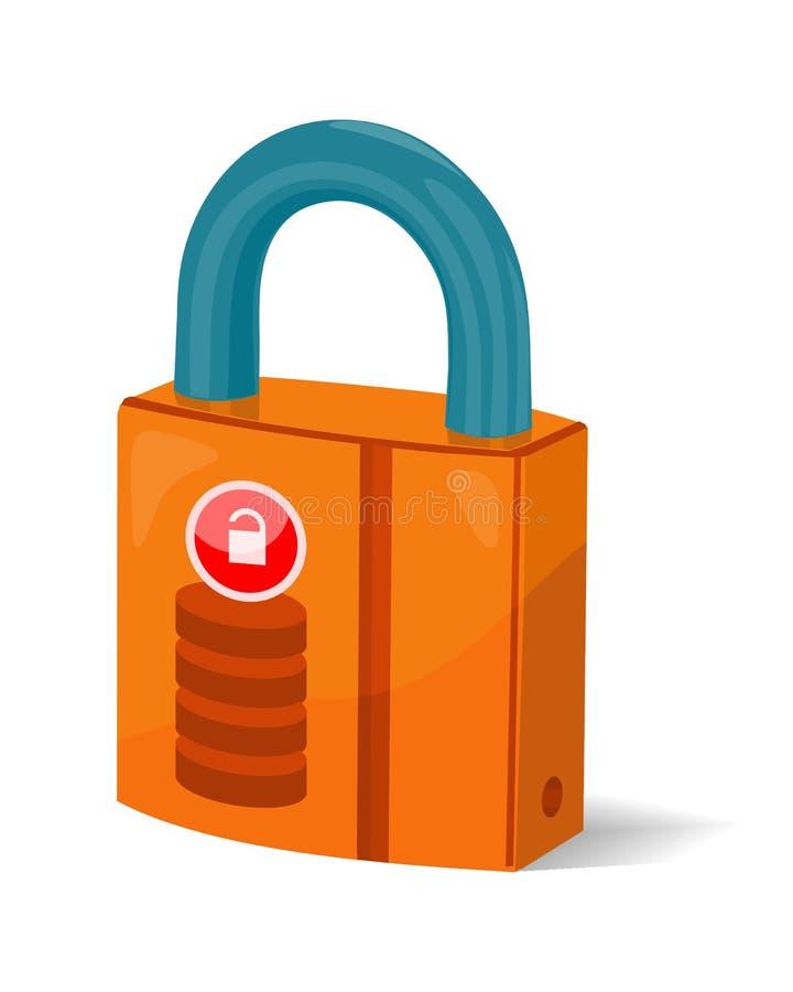 Ícone do símbolo do sinal do armazenamento de dados  Fechamento isolado padlock ilustração stock