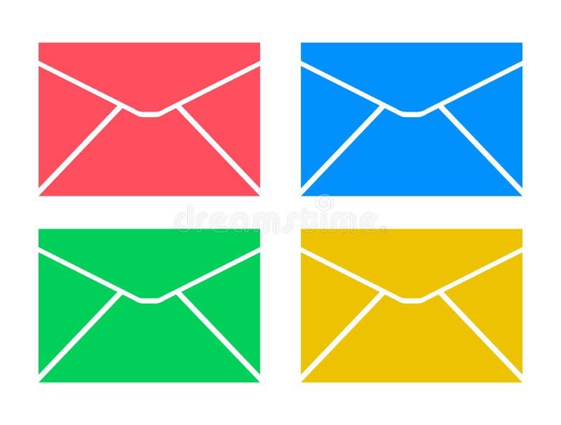 Ícone do símbolo do envelope toda a cor ilustração stock