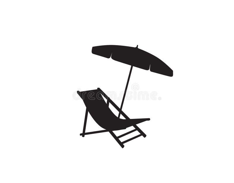 Ícone do símbolo do feriado da praia do verão do guarda-chuva da cadeira de plataforma ilustração stock