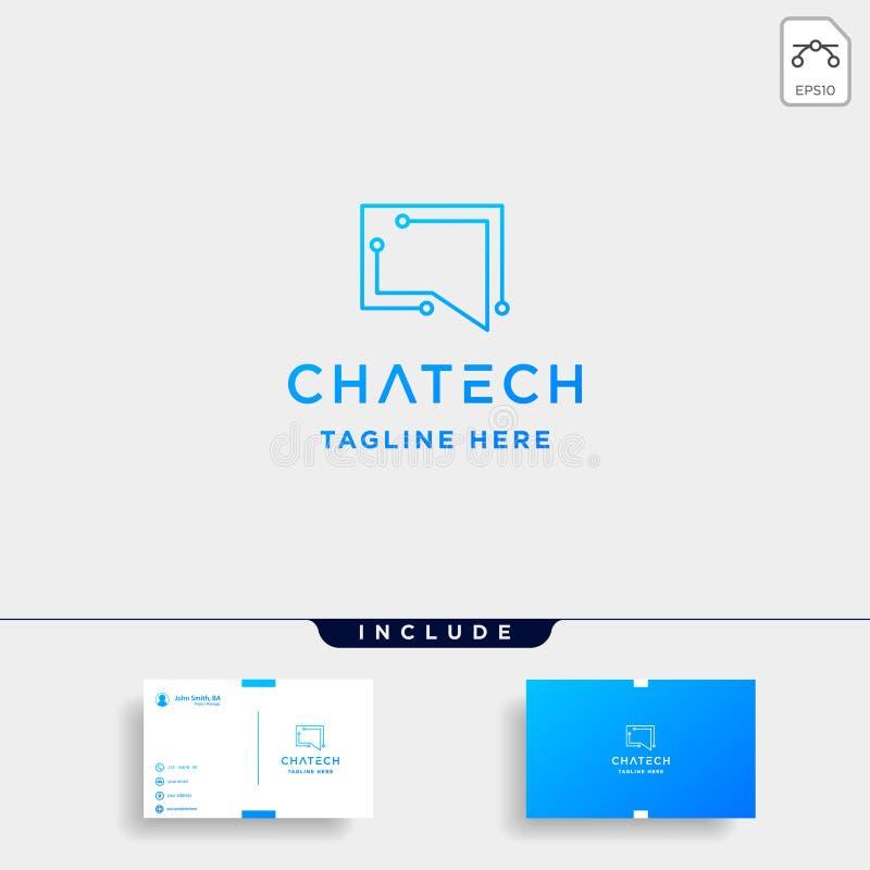 ícone do símbolo do Internet da conversa do vetor do projeto do logotipo da tecnologia do bate-papo ilustração royalty free