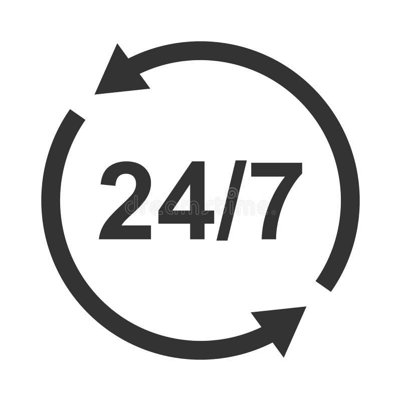 Ícone do símbolo, sinal aberto dia-e-noite ou 24 horas um o dia e 7 dias por semana fotos de stock