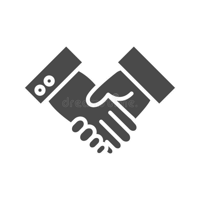 Ícone do sólido do aperto de mão ilustração do vetor
