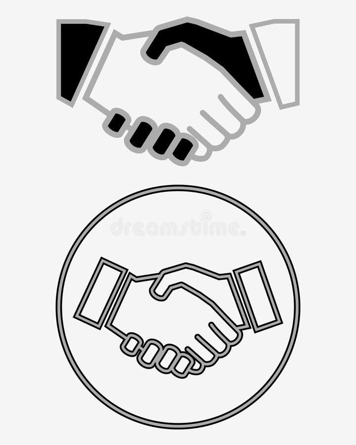 Ícone do sólido do aperto de mão do negócio ilustração do vetor