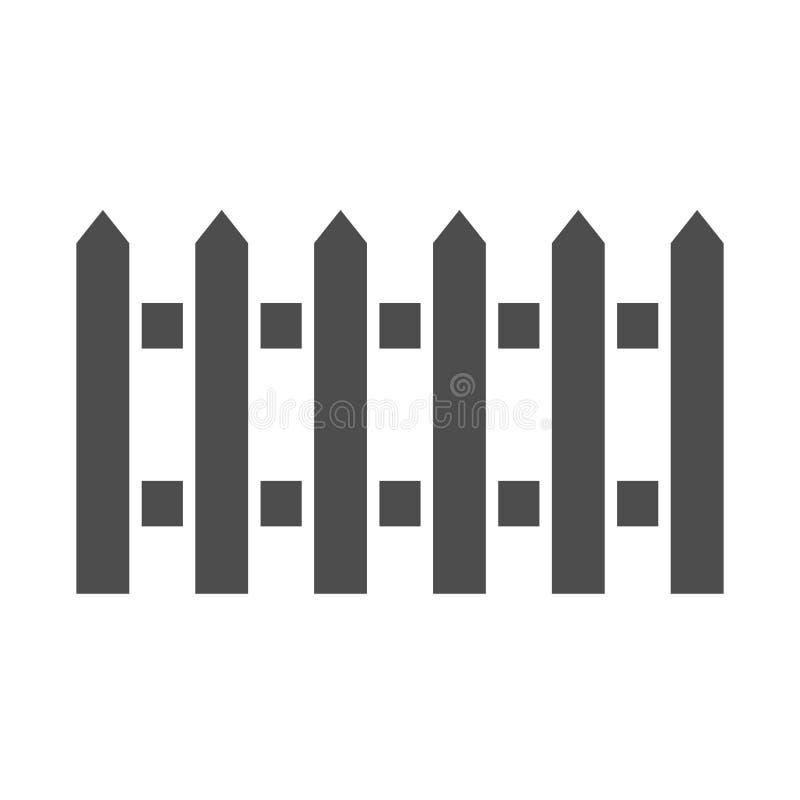 Ícone do sólido da cerca Jardim que cerca a ilustração do vetor isolada no branco Projeto do estilo do glyph da barreira, projeta ilustração royalty free