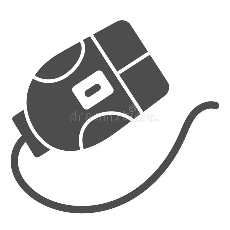Ícone do sólido do rato do computador Ilustração do vetor do clique isolada no branco Projeto do estilo do glyph do dispositivo,  ilustração royalty free